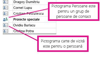 Pictogramele Persoane sunt pentru grupurile de persoane de contact, iar pictogramele carte sunt pentru persoane individuale