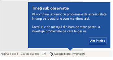 Bară de stare care indică faptul că Verificatorul de accesibilitate rulează