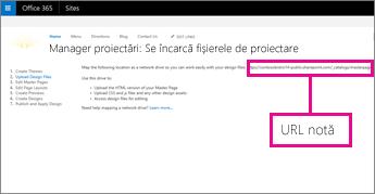 În Manager de proiectare Office 365, copiați sau notați URL-ul