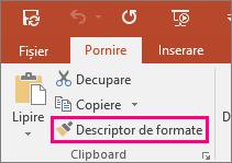 Afișează butonul Descriptor de formate din PowerPoint
