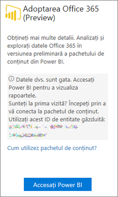 Alegeți Accesați Power BI în fișa Office 365 Adoption