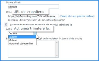 Captură de ecran cu secțiunea Setări conexiune a paginii Conexiune Trimitere la din Centrul de administrare SharePoint Online. Puteți să specificați aici adresa URL pentru locația de destinație pentru Organizator conținut.