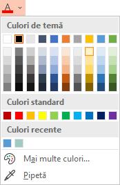 Selectați săgeata în jos de lângă butonul Culoare font pentru a deschide meniul de culori.