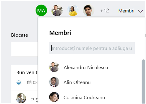 Captură de ecran: care arată că, pe măsură ce tastați numele unui invitat, Planificator identifică comentariile.