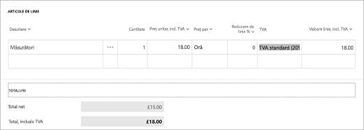 Captură de ecran: Calcularea TVA în Microsoft facturare