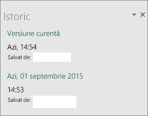 Panoul Istoric din Excel 2016 pentru Windows