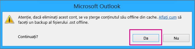 Atunci când ștergeți contul Gmail din Outlook, faceți clic pe Da în avertizarea referitoare la ștergerea memoriei cache offline.