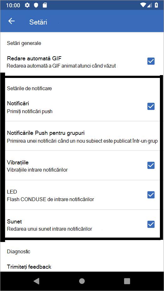 Opțiuni Yammer pentru setările Android