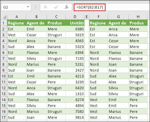 SORTAREA după regiune, agent vânzări și produs individual cu =SORT(A2:A17) copiate în