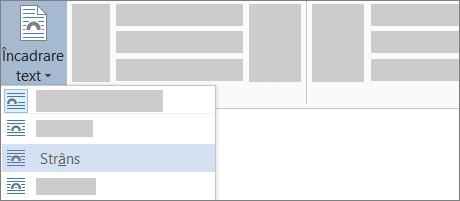 Opțiunea Încadrare compactă pentru text de pe panglică