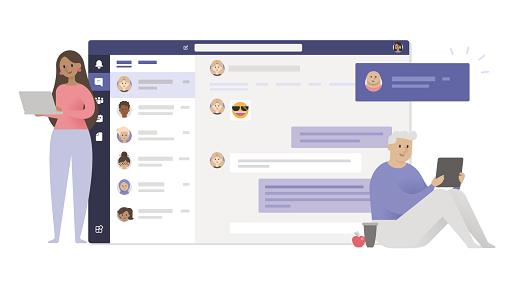 Ilustrație cu utilizatori în Teams