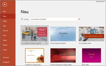 Vizualizare șabloane în PowerPoint pentru Windows.