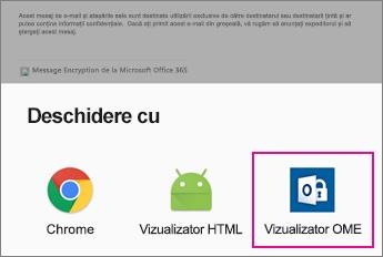 Vizualizator OME cu aplicația de E-mail Android 2