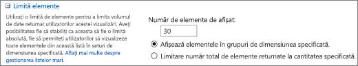 Setați numărul de elemente de afișat în pagina Vizualizare setări