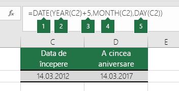 Calculați o dată calendaristică pe baza unei alte date