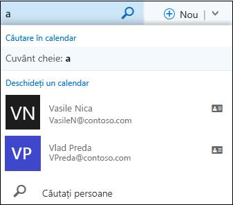 Lista de căutare din Calendar care apare atunci când tastați ceva în caseta Căutare din Calendar și se potrivește cu un nume din lista sau directorul dvs. de persoane de contact.
