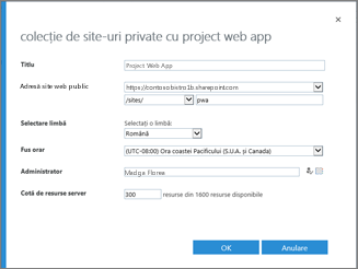 Colecție de site-ul privată cu Project Web App