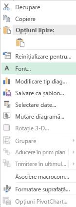 Captură de ecran a opțiunile disponibile din meniul de comenzi rapide după selecție etichetele axelor de categorii, inclusiv evidențiată opțiunea de Font.