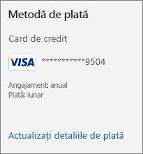 Secțiunea Metodă de plată a paginii Abonament, care afișează linkul Actualizați detaliile de plată.