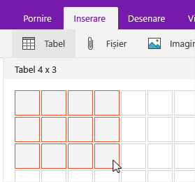 Comanda Inserare tabel afișând selecția grilei