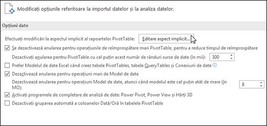 Editați aspectul PivotTable implicit din Fișier > Opțiuni > Date