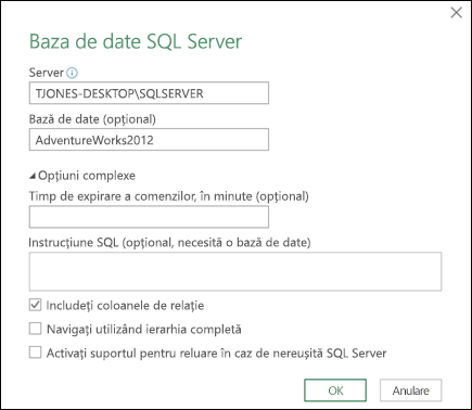 Dialog de conexiune Power Query SQL Server bază de date