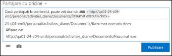 Adresa URL a documentului lipită în publicarea unui flux de știri