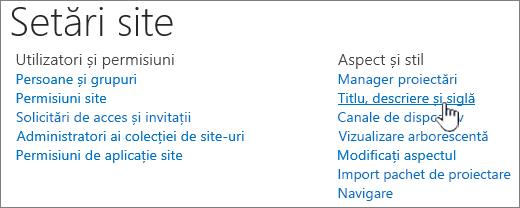 Setări site cu titlu, descriere, siglă selectată