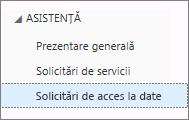 O listă cu toate solicitările de acces al datelor