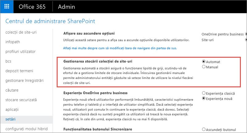 Office 365 SharePoint Online setările de ecran cu site-ul colecției administrare evidențiată