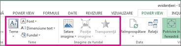 Instrumente de formatare a rapoartelor în Power View