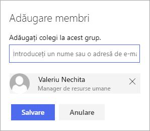 Adăugarea unui membru la un grup