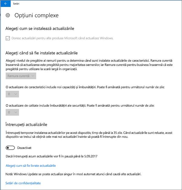 Opțiuni complexe Windows actualizări sunt toate estompată.