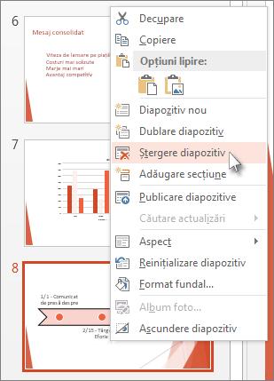 Faceți clic dreapta pe o miniatură de diapozitiv din PowerPoint, apoi faceți clic pe Ștergere diapozitiv.
