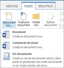 Butonul Document nou cu lista verticală pe panglică