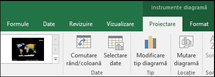 Diagramă hartă Excel - Instrumente panglică