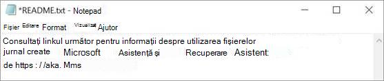 O imagine a asistentului pentru recuperare și asistență Microsoft mi-a citit fișierul deschis în Notepad.
