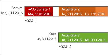 Cronologie cu numele și datele activităților