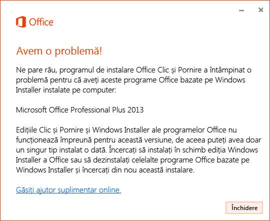 Eroare la instalarea Clic și Pornire prin instalarea MSI