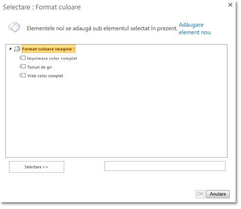 Aveți posibilitatea să selectați termeni gestionați dintr-un selector de control de tip arbore.
