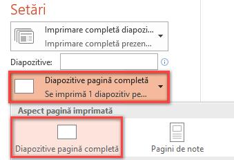 În panoul Imprimare, faceți clic pe Diapozitive pagină completă, apoi  selectați Diapozitive pagină completă din lista Aspect pagină imprimată.