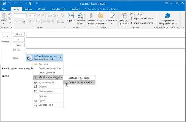 Opțiunile Modificare permisiune includ Destinatarii pot edita și Destinatarii pot vizualiza