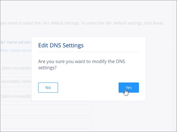 Efectuarea unui clic pe Save (Salvare) în caseta de dialog Edit DNS Settings (Editare setări DNS)
