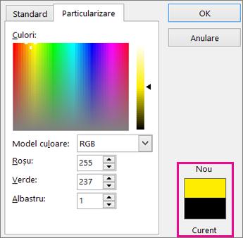 Comparați selecțiile culoare nouă și curent