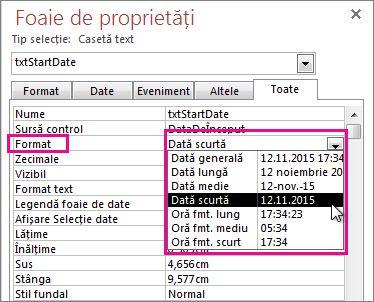 O imagine a Foii de proprietăți cu lista verticală Format afișată.