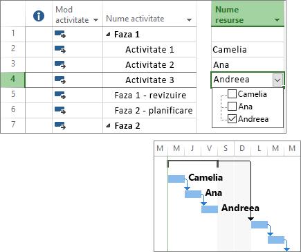 Captură de ecran compusă cu activități cu resurse atribuite într-un plan de proiect și o diagramă Gantt.