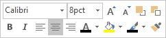 Casetă flotantă sau mini-bară de instrumente de editare a textului