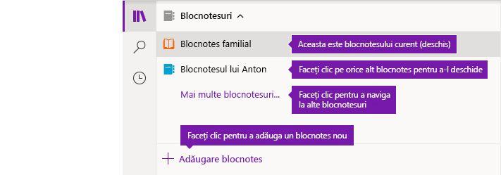 Listă de notebookuri în OneNote pentru Windows 10