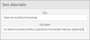 Caseta de dialog text alternativ pentru tabele în PowerPoint Mobile pentru telefoane Windows.