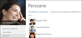 Lista de persoane urmărite și persoane care urmăresc pentru un coleg